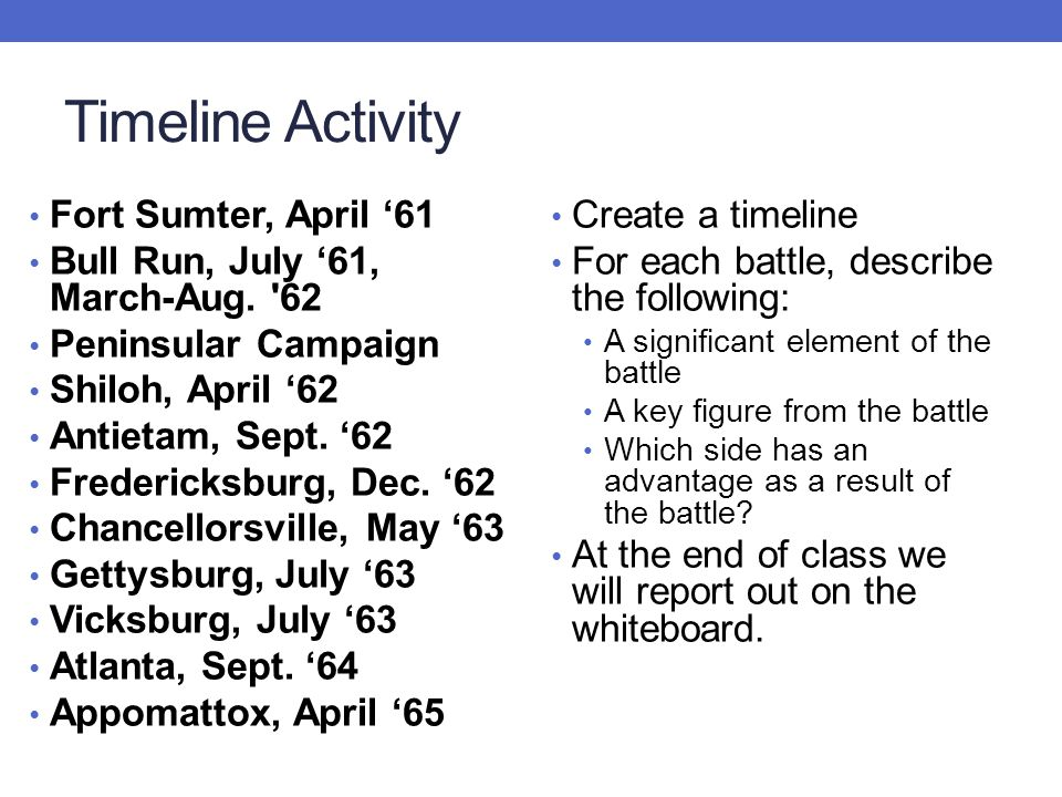 Timeline Activity Fort Sumter, April '61 Bull Run, July '61, March-Aug. '62 Peninsular Campaign Shiloh, April '62 Antietam, Sept. '62 Fredericksburg,