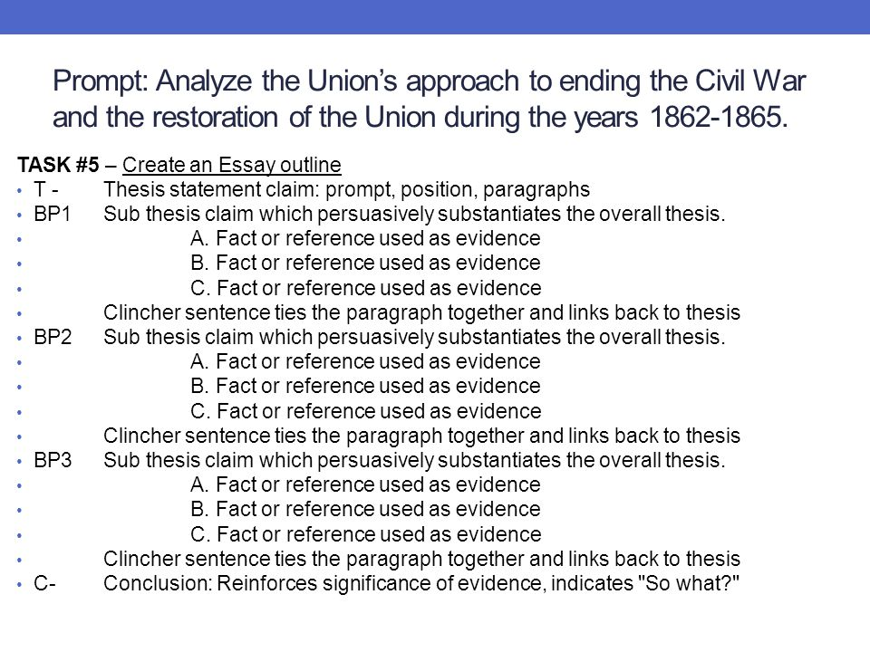 Prompt: Analyze the Union's approach to ending the Civil War and the restoration of the Union during the years 1862-1865. TASK #5 – Create an Essay ou