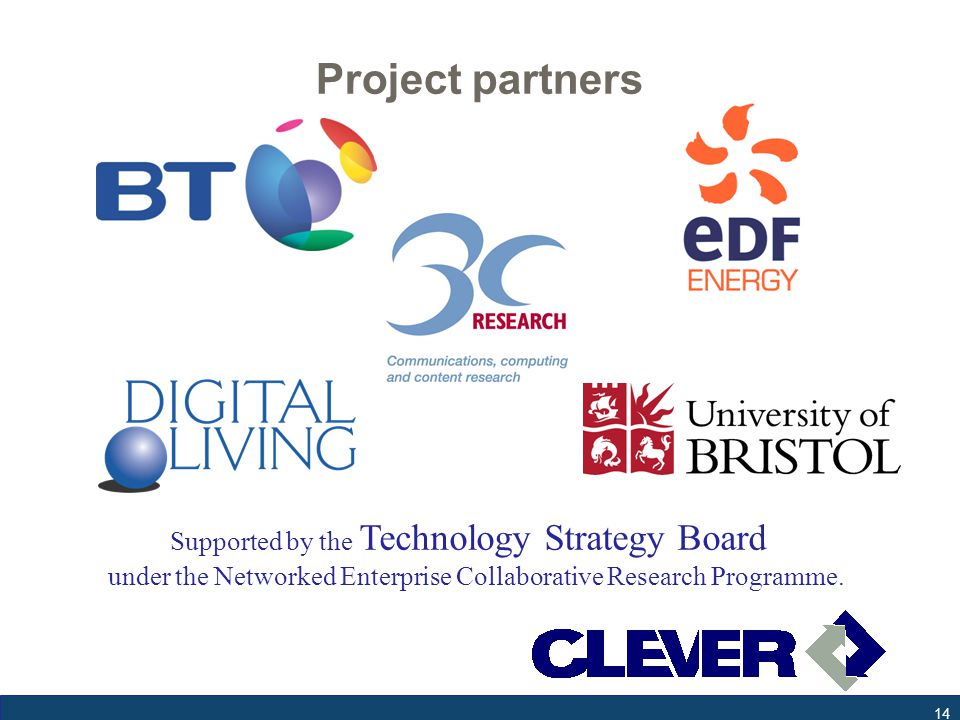 Project partners 14 Supported by the Technology Strategy Board under the Networked Enterprise Collaborative Research Programme.