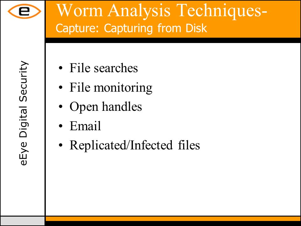 eEye Digital Security Worm Analysis Techniques- Capture: Capturing from Disk File searches File monitoring Open handles Email Replicated/Infected files