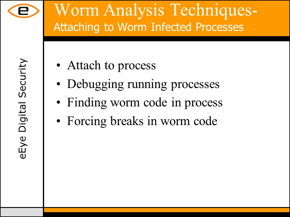 eEye Digital Security Worm Analysis Techniques- Attaching to Worm Infected Processes Attach to process Debugging running processes Finding worm code in process Forcing breaks in worm code