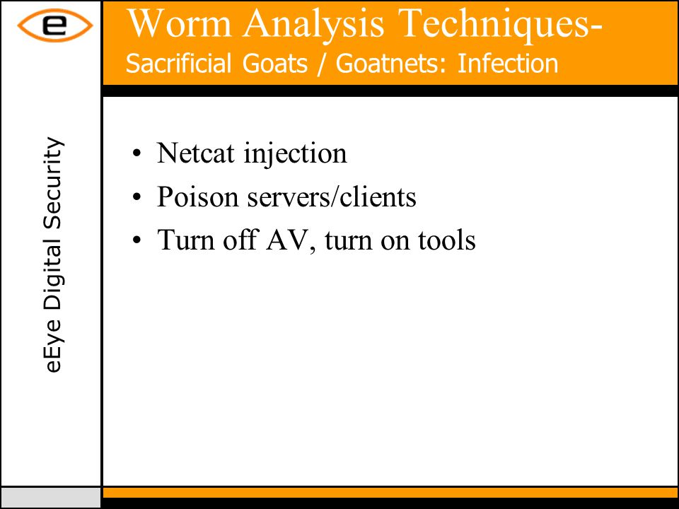 eEye Digital Security Worm Analysis Techniques- Sacrificial Goats / Goatnets: Infection Netcat injection Poison servers/clients Turn off AV, turn on tools