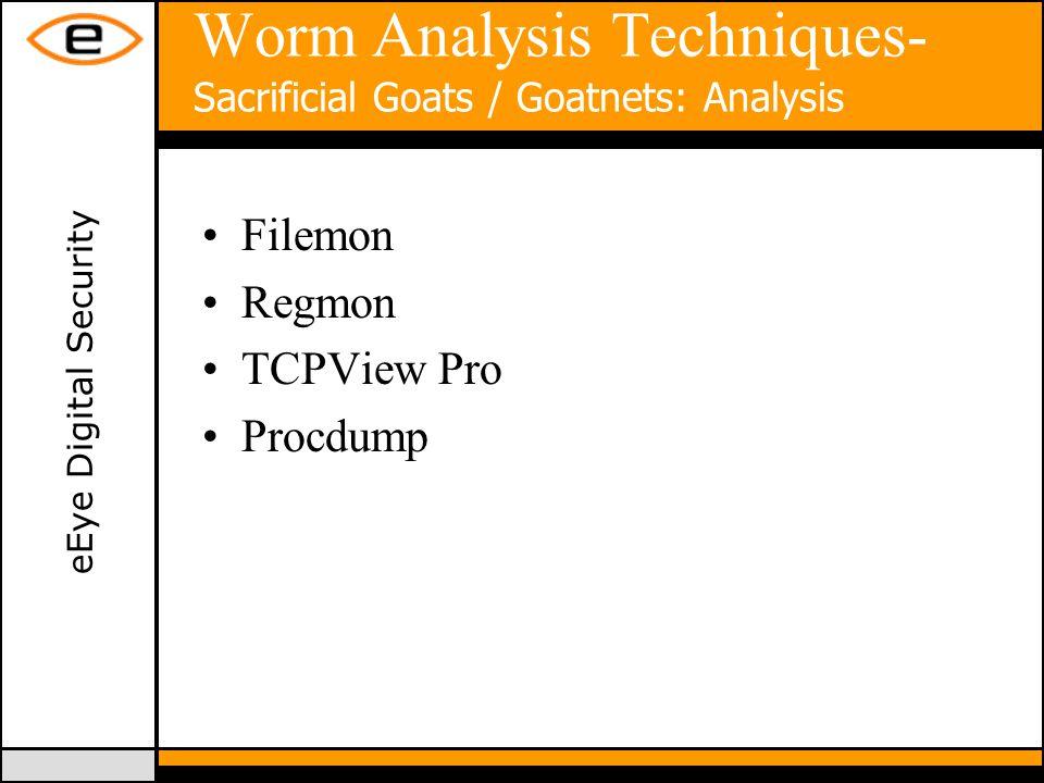 eEye Digital Security Worm Analysis Techniques- Sacrificial Goats / Goatnets: Analysis Filemon Regmon TCPView Pro Procdump