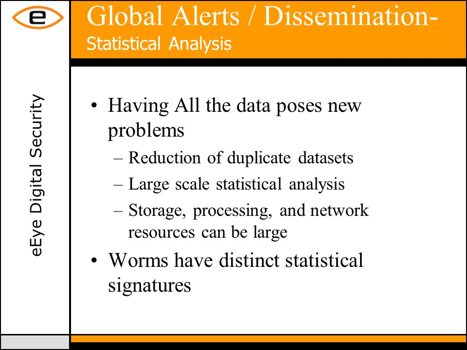 eEye Digital Security Global Alerts / Dissemination- Statistical Analysis Having All the data poses new problems –Reduction of duplicate datasets –Large scale statistical analysis –Storage, processing, and network resources can be large Worms have distinct statistical signatures
