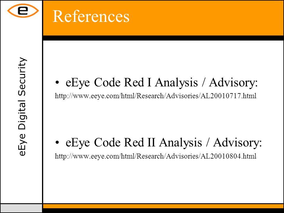eEye Digital Security References eEye Code Red I Analysis / Advisory: http://www.eeye.com/html/Research/Advisories/AL20010717.html eEye Code Red II Analysis / Advisory: http://www.eeye.com/html/Research/Advisories/AL20010804.html
