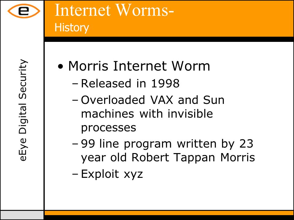 eEye Digital Security Internet Worms- History Morris Internet Worm –Released in 1998 –Overloaded VAX and Sun machines with invisible processes –99 line program written by 23 year old Robert Tappan Morris –Exploit xyz