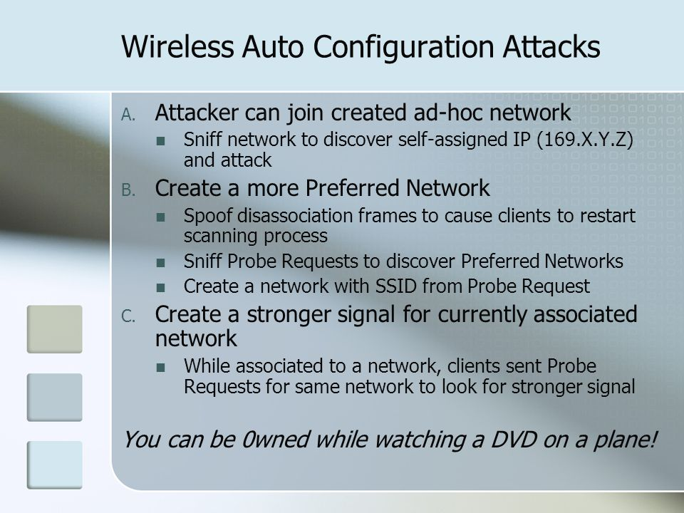 Wireless Auto Configuration Attacks A.