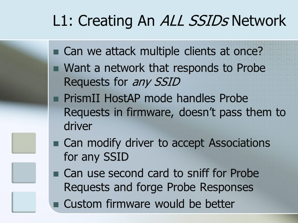 L1: Creating An ALL SSIDs Network Can we attack multiple clients at once.