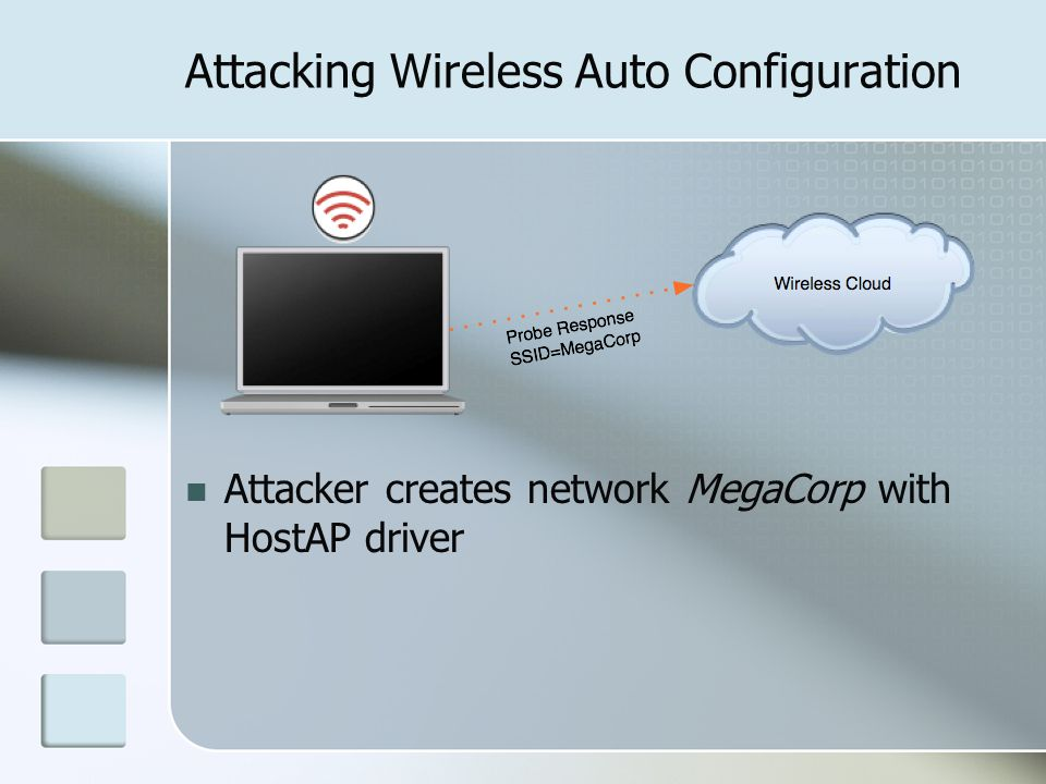 Attacking Wireless Auto Configuration Attacker creates network MegaCorp with HostAP driver