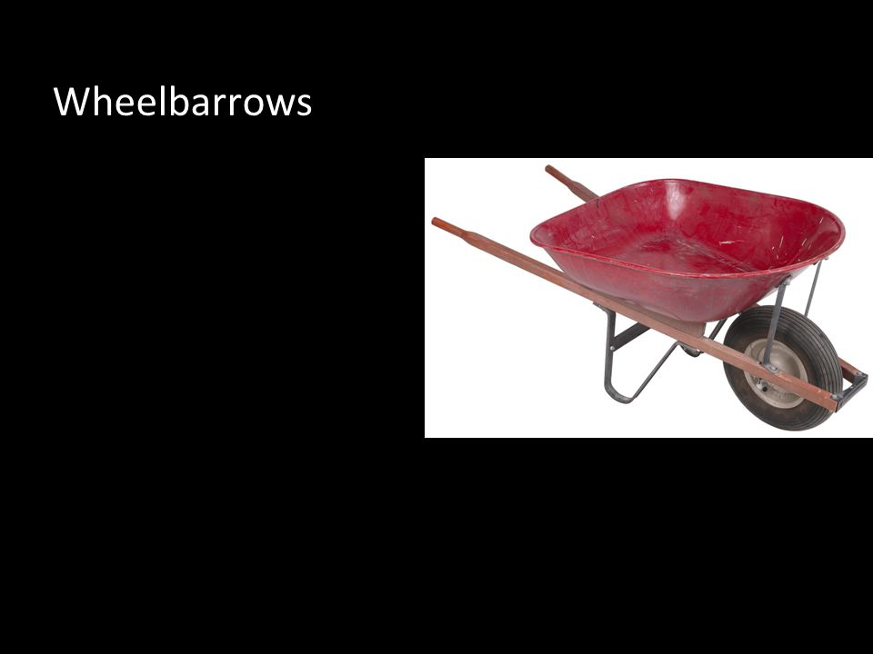 The wheelbarrow looks like a suitcase with a long handle.The wheel barrow front wheel is the fulcrum.Your arms are the effort.The barrow holds the load in it.The wheelbarrow makes work easier because you can move twice as more.