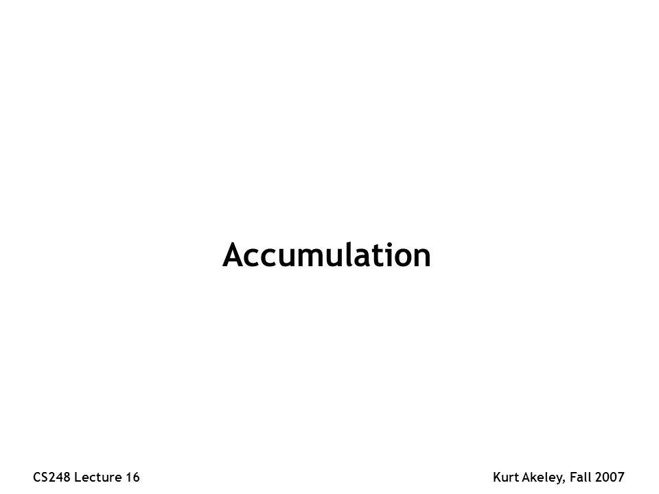 CS248 Lecture 16Kurt Akeley, Fall 2007 Accumulation