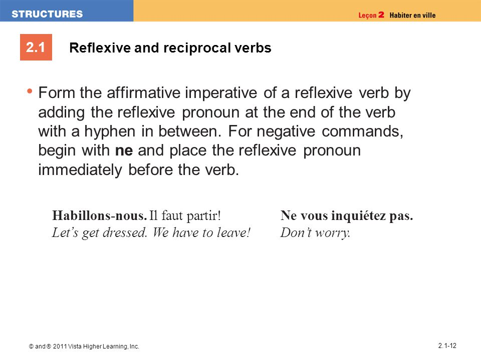 2.1 © and ® 2011 Vista Higher Learning, Inc. 2.1-12 Reflexive and reciprocal verbs Form the affirmative imperative of a reflexive verb by adding the r