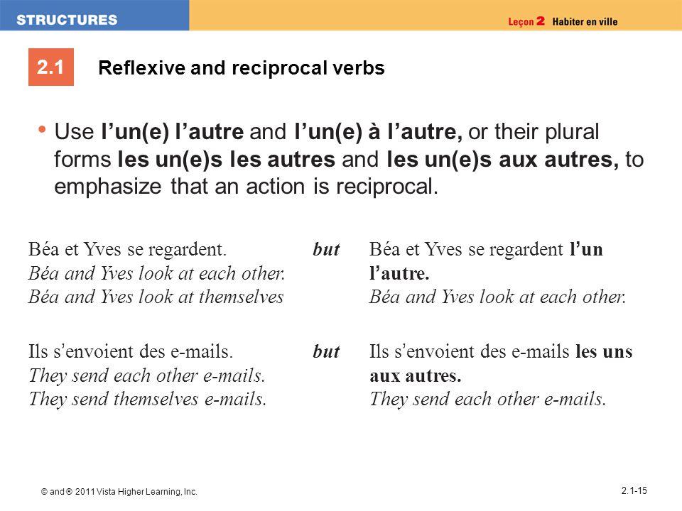 2.1 © and ® 2011 Vista Higher Learning, Inc. 2.1-15 Reflexive and reciprocal verbs Use l'un(e) l'autre and l'un(e) à l'autre, or their plural forms le