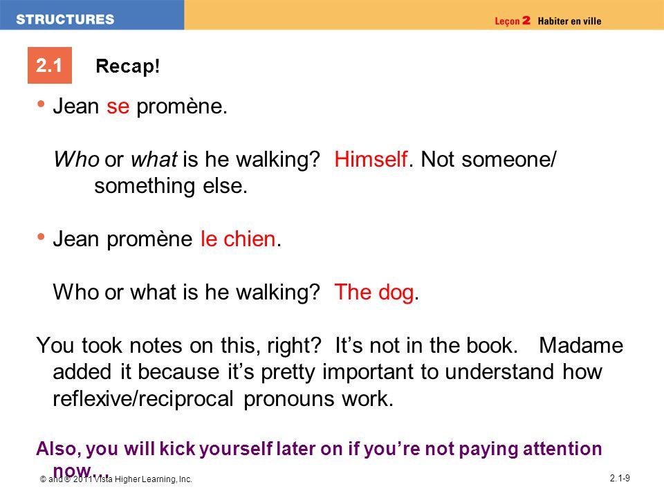 2.1 Recap.Jean se promène. Who or what is he walking.
