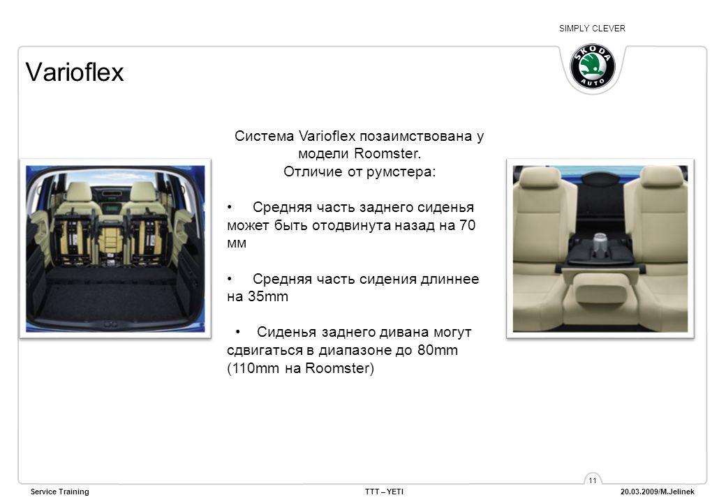 SIMPLY CLEVER Service TrainingTTT – YETI 20.03.2009/M.Jelinek 11 Varioflex Система Varioflex позаимствована у модели Roomster. Отличие от румстера: Ср
