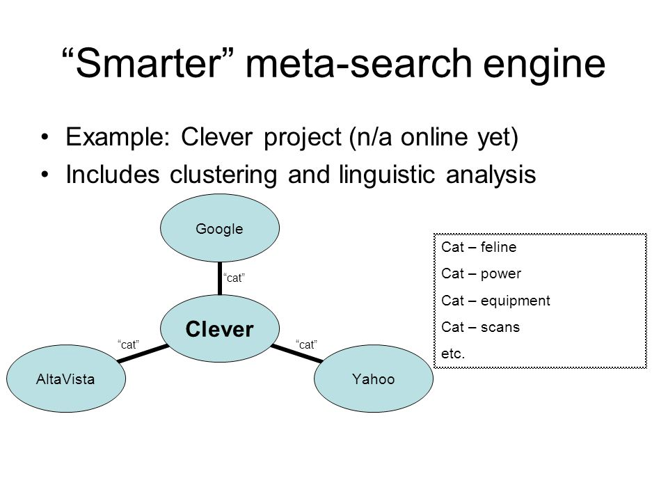 Smarter meta-search engine Example: Clever project (n/a online yet) Includes clustering and linguistic analysis cat Cat – feline Cat – power Cat – equipment Cat – scans etc.