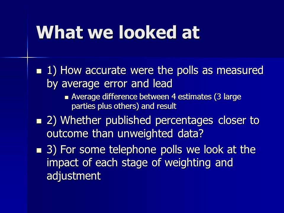What we looked at 1) How accurate were the polls as measured by average error and lead 1) How accurate were the polls as measured by average error and lead Average difference between 4 estimates (3 large parties plus others) and result Average difference between 4 estimates (3 large parties plus others) and result 2) Whether published percentages closer to outcome than unweighted data.