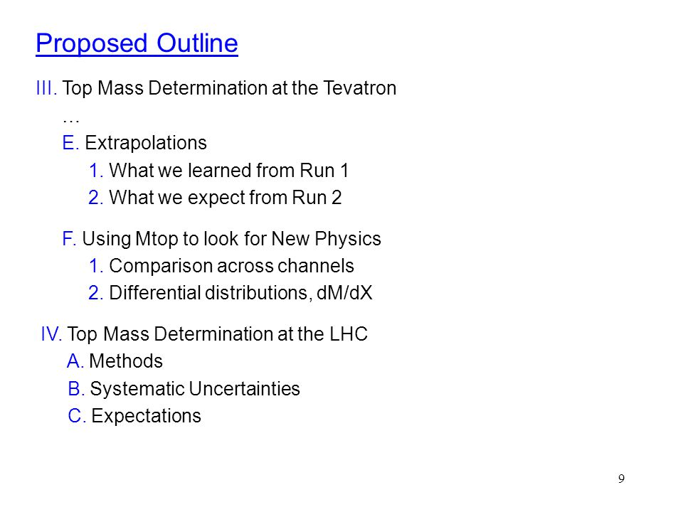 9 Proposed Outline III. Top Mass Determination at the Tevatron … E. Extrapolations 1. What we learned from Run 1 2. What we expect from Run 2 F. Using
