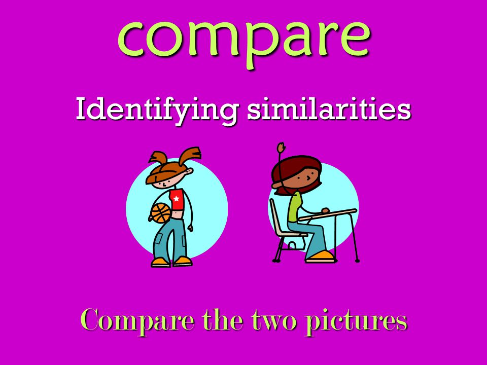 compare Identifying similarities Compare the two pictures