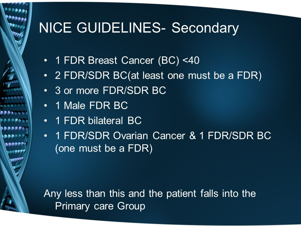 NICE GUIDELINES- Secondary 1 FDR Breast Cancer (BC) <40 2 FDR/SDR BC(at least one must be a FDR) 3 or more FDR/SDR BC 1 Male FDR BC 1 FDR bilateral BC 1 FDR/SDR Ovarian Cancer & 1 FDR/SDR BC (one must be a FDR) Any less than this and the patient falls into the Primary care Group