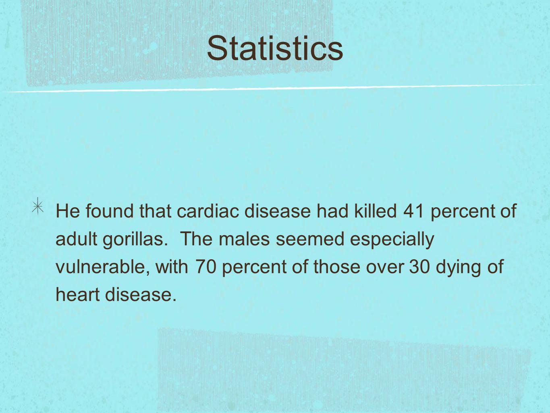 Statistics He found that cardiac disease had killed 41 percent of adult gorillas.