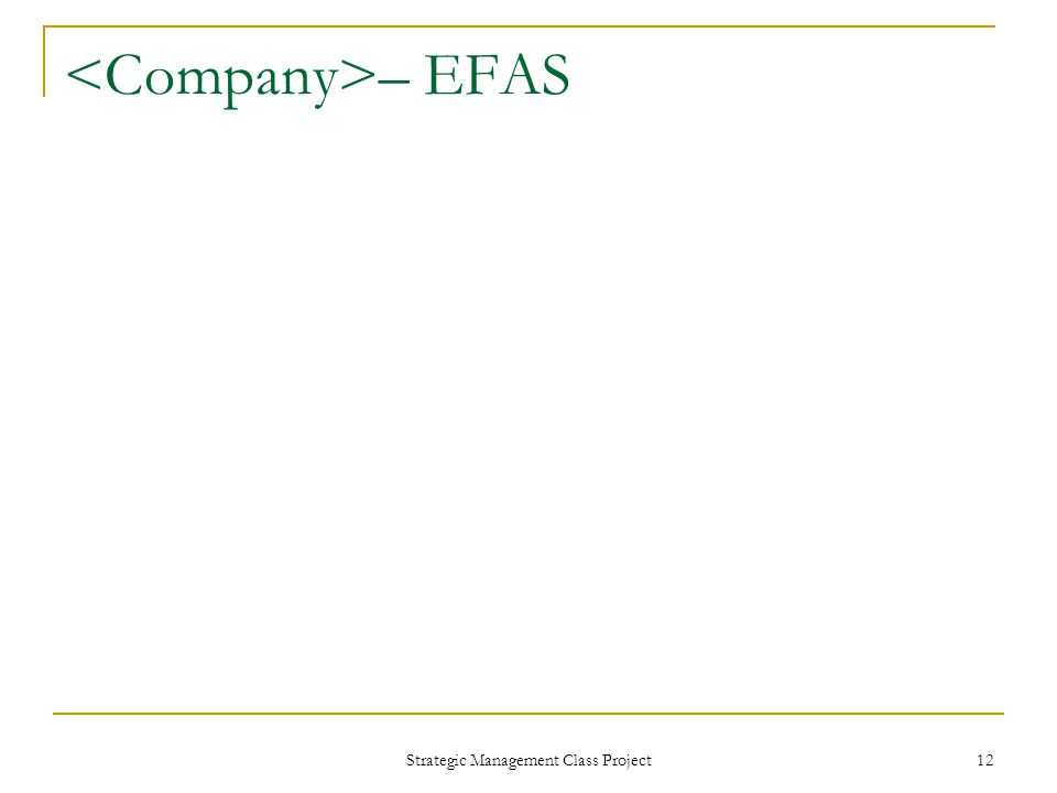 Strategic Management Class Project 12 – EFAS