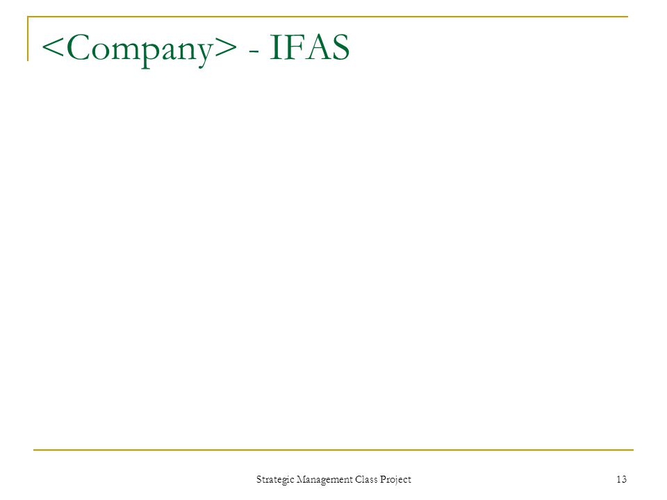 Strategic Management Class Project 13 - IFAS