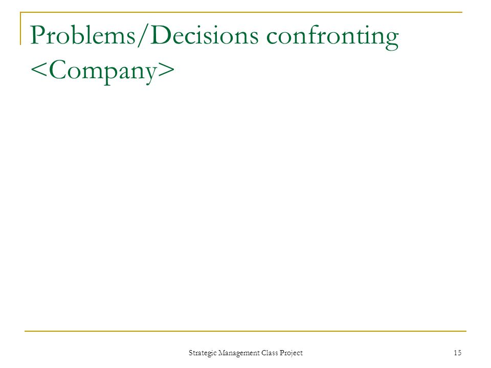 Problems/Decisions confronting Strategic Management Class Project 15
