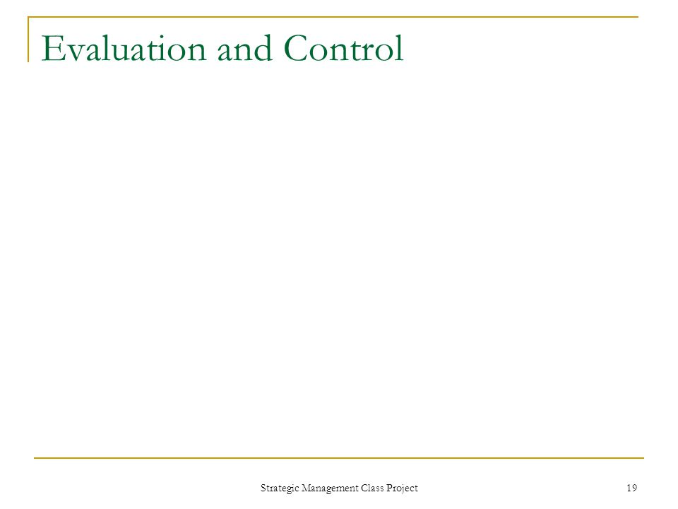 Strategic Management Class Project 19 Evaluation and Control