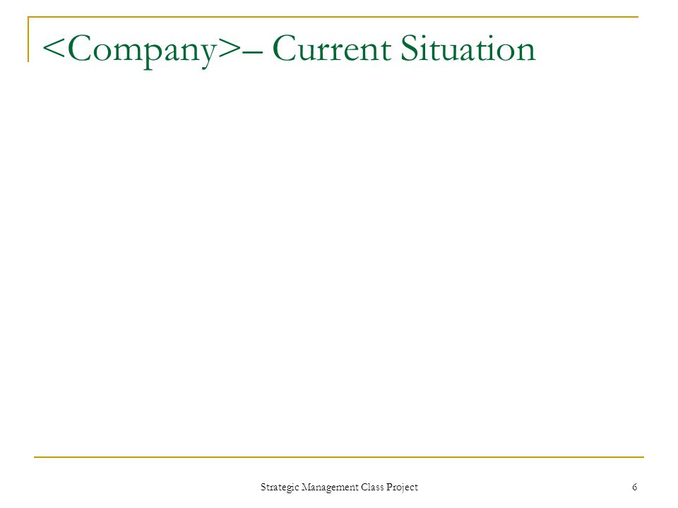 Strategic Management Class Project 6 – Current Situation