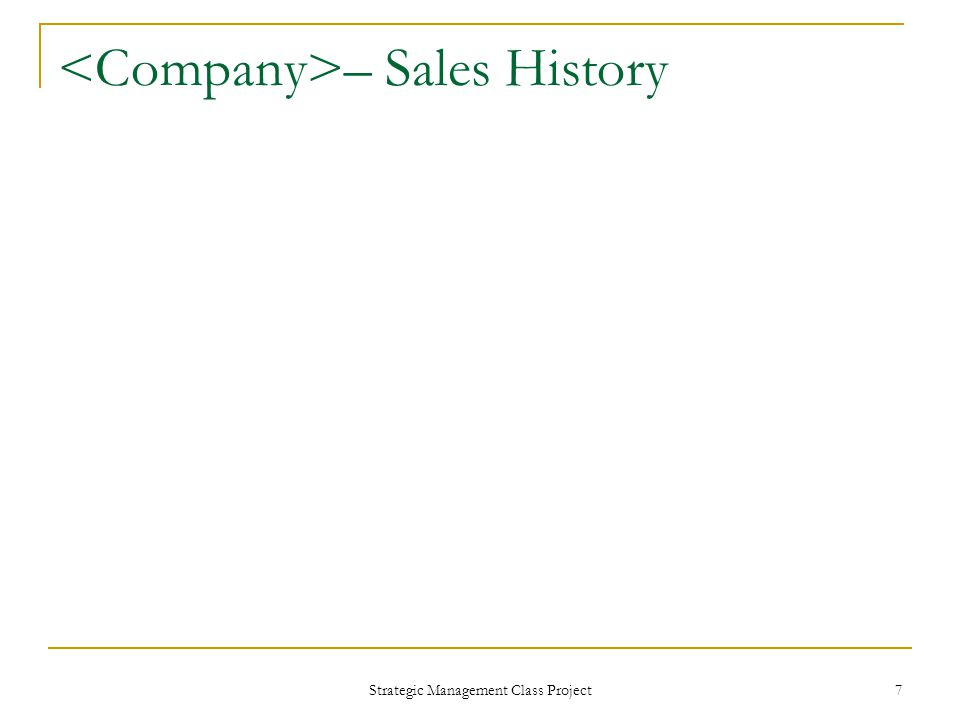 Strategic Management Class Project 7 – Sales History