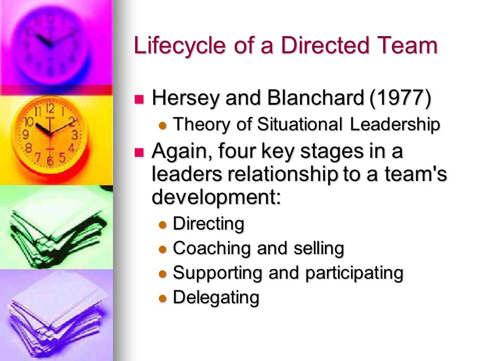 Lifecycle of a Directed Team Hersey and Blanchard (1977) Hersey and Blanchard (1977) Theory of Situational Leadership Theory of Situational Leadership Again, four key stages in a leaders relationship to a team s development: Again, four key stages in a leaders relationship to a team s development: Directing Directing Coaching and selling Coaching and selling Supporting and participating Supporting and participating Delegating Delegating