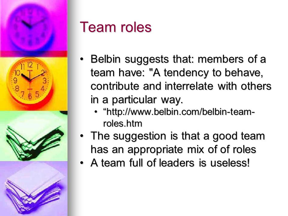 Team roles Belbin suggests that: members of a team have: A tendency to behave, contribute and interrelate with others in a particular way.Belbin suggests that: members of a team have: A tendency to behave, contribute and interrelate with others in a particular way.