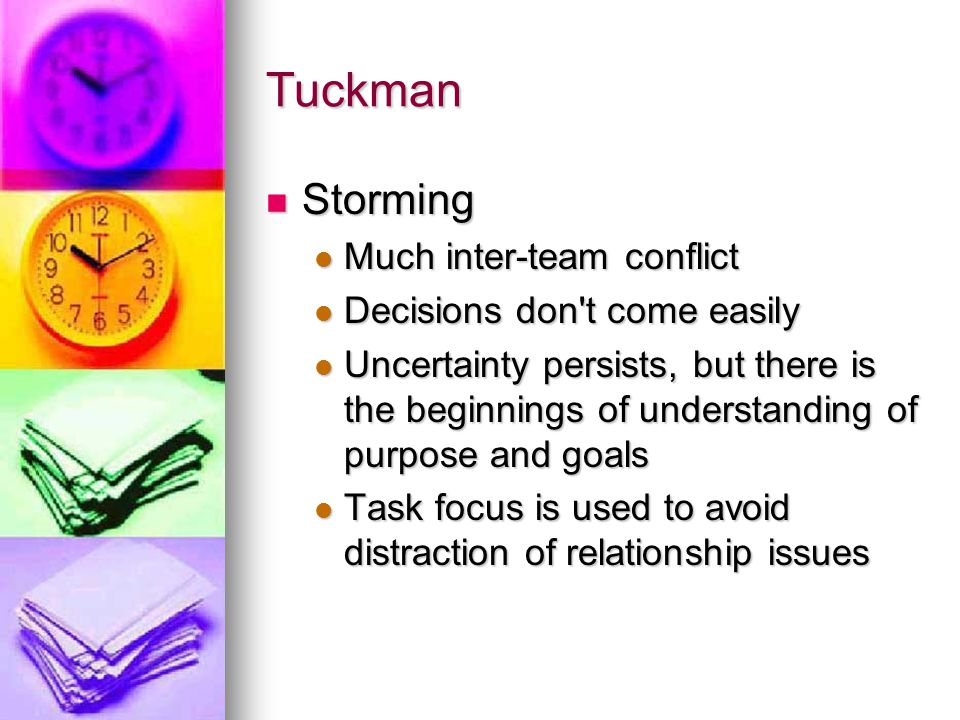 Tuckman Storming Storming Much inter-team conflict Much inter-team conflict Decisions don't come easily Decisions don't come easily Uncertainty persis