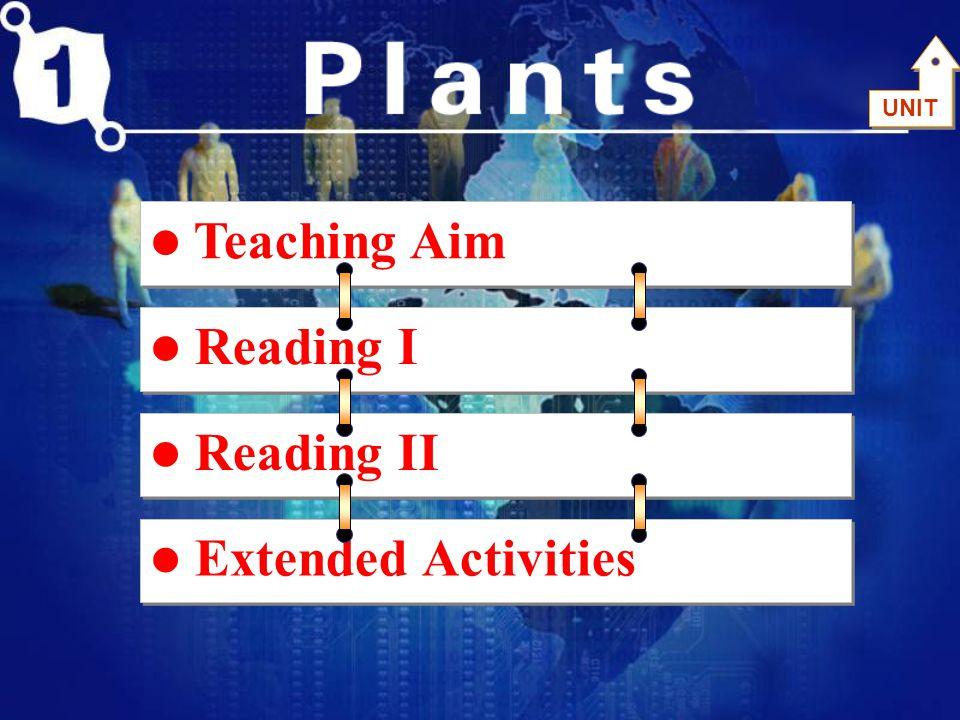 Teaching Aim Unit 1 plants 1.Cognitive Information (认知信息) : Attitude to Life , Names of Plants 2.