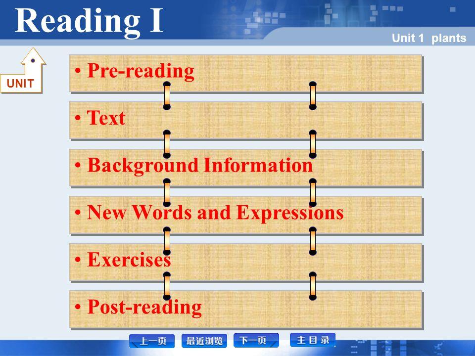 Pre-reading Unit 1 plants Pre-reading I Pre-reading I Pre-reading I Pre-reading II