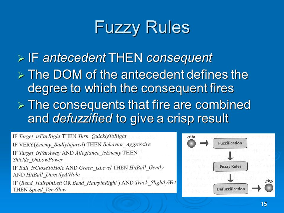 15 Fuzzy Rules  IF antecedent THEN consequent  The DOM of the antecedent defines the degree to which the consequent fires  The consequents that fir