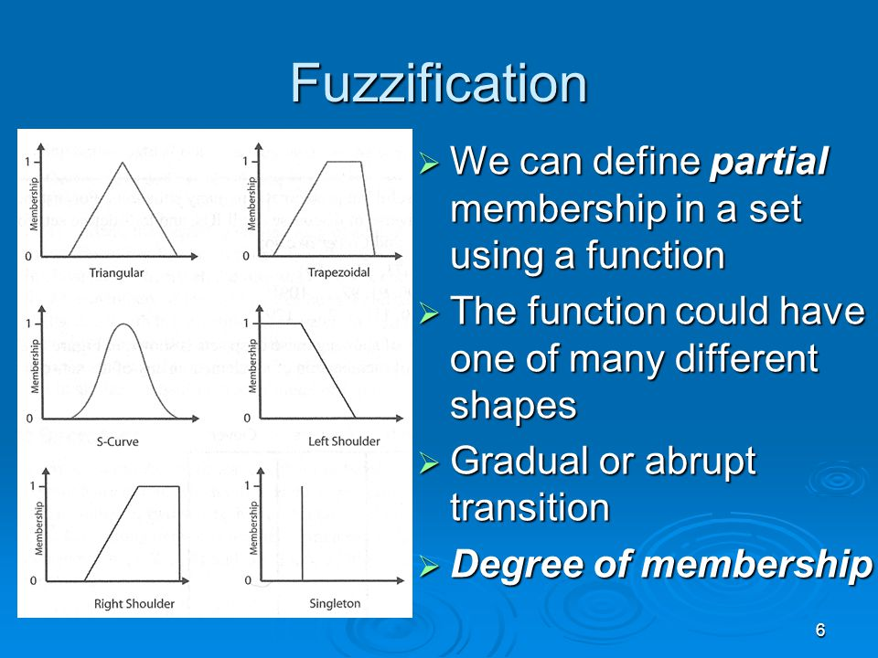 6 Fuzzification  We can define partial membership in a set using a function  The function could have one of many different shapes  Gradual or abrup
