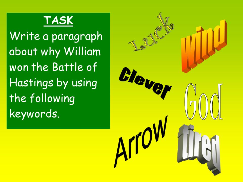 TASK Write a paragraph about why William won the Battle of Hastings by using the following keywords.