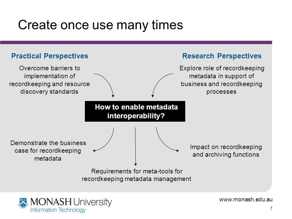 www.monash.edu.au 7 Create once use many times How to enable metadata interoperability.