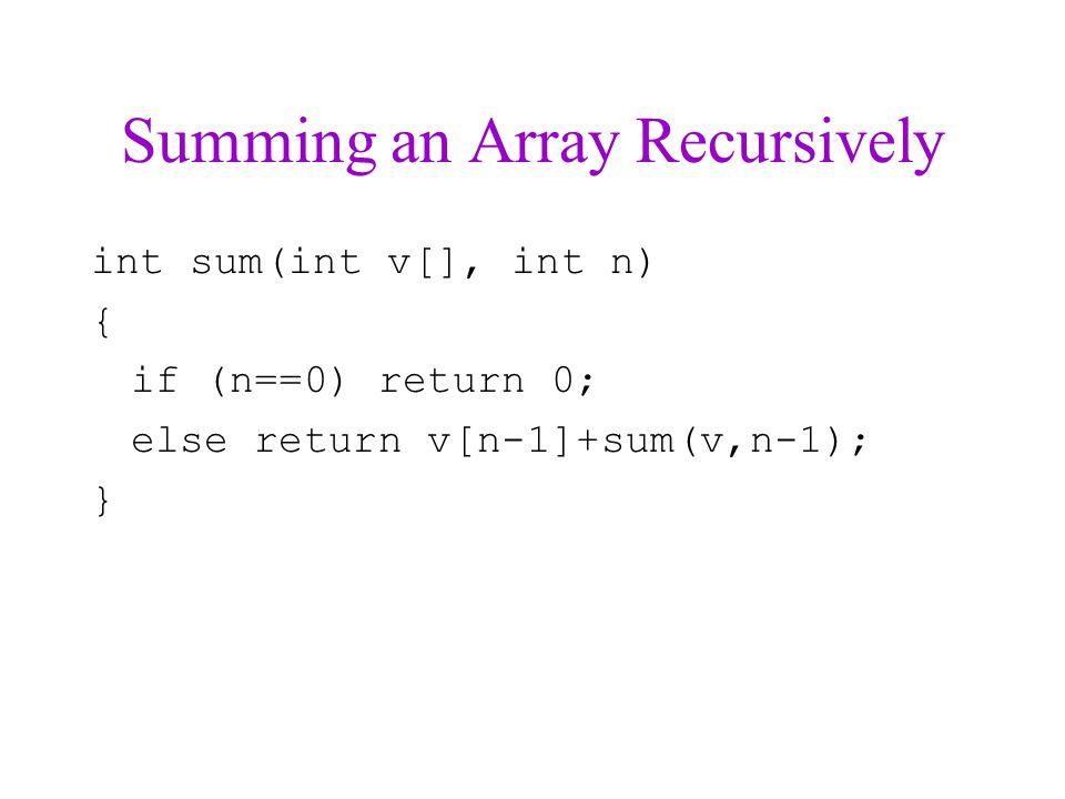 Summing an Array Recursively int sum(int v[], int n) { if (n==0) return 0; else return v[n-1]+sum(v,n-1); }