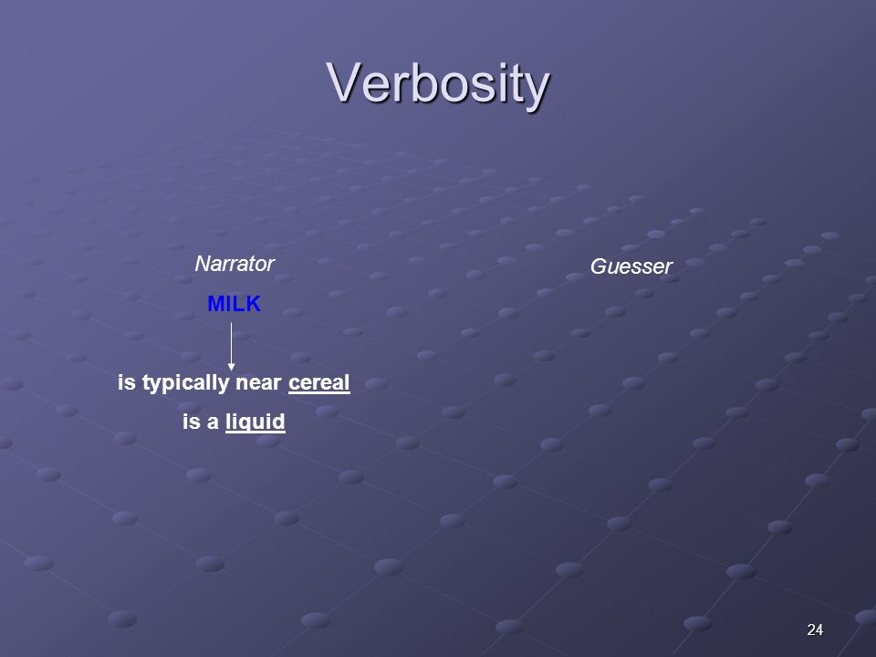 24 Verbosity Narrator MILK is typically near cereal is a liquid Guesser