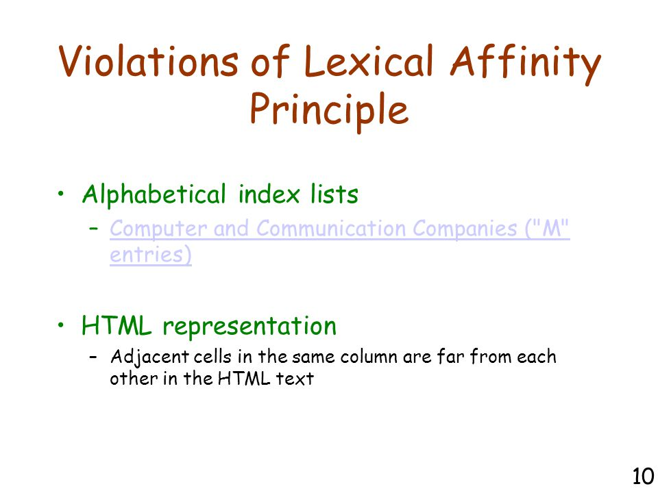 Violations of Lexical Affinity Principle Alphabetical index lists –Computer and Communication Companies ( M entries)Computer and Communication Companies ( M entries) HTML representation –Adjacent cells in the same column are far from each other in the HTML text 10