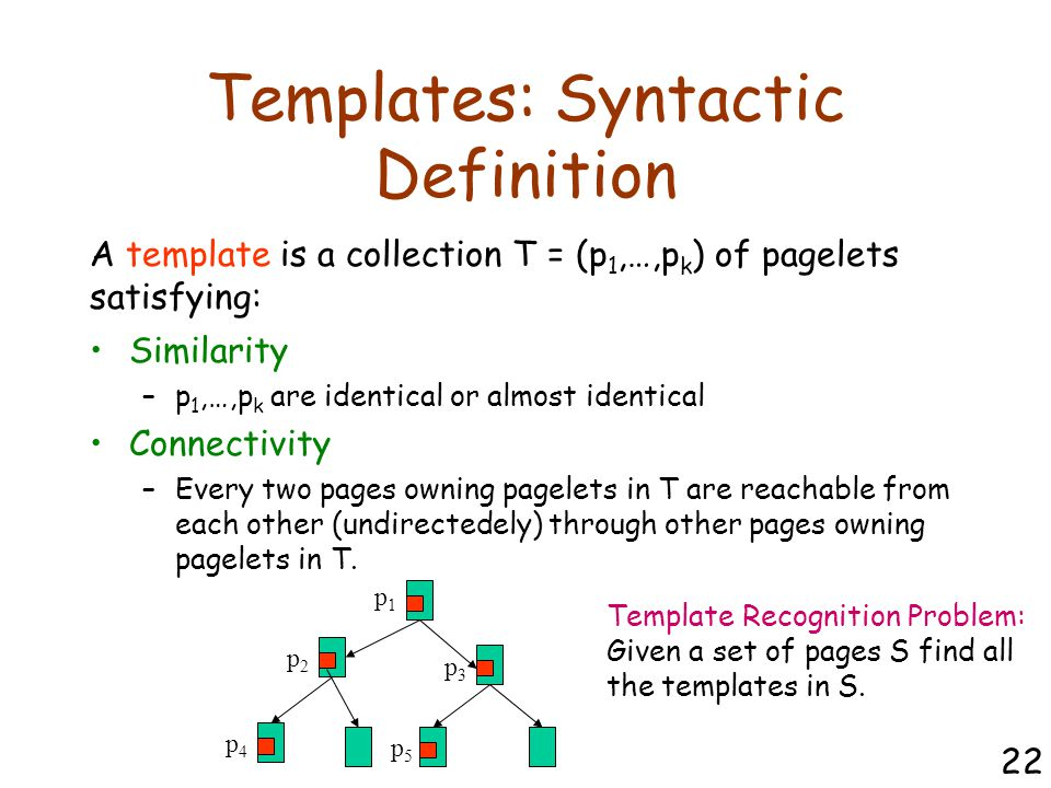 Templates: Syntactic Definition Similarity –p 1,…,p k are identical or almost identical Connectivity –Every two pages owning pagelets in T are reachable from each other (undirectedely) through other pages owning pagelets in T.