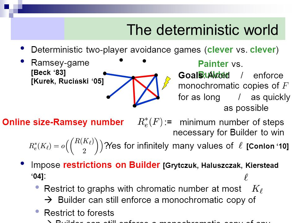The deterministic world Deterministic two-player avoidance games (clever vs.