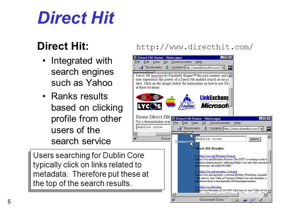 5 Direct Hit Direct Hit: Integrated with search engines such as Yahoo Ranks results based on clicking profile from other users of the search service http://www.directhit.com/ Users searching for Dublin Core typically click on links related to metadata.