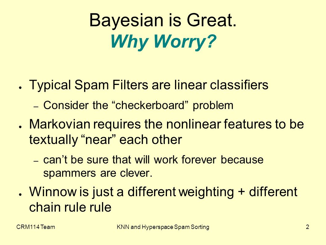 CRM114 TeamKNN and Hyperspace Spam Sorting3 Bayesian is Great.
