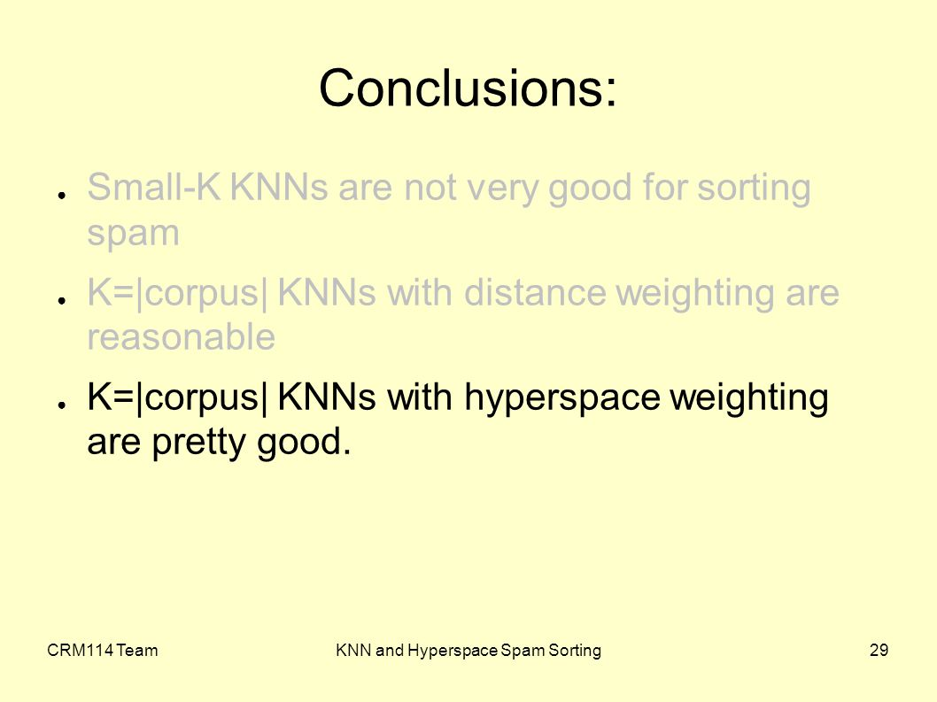 CRM114 TeamKNN and Hyperspace Spam Sorting29 ● Small-K KNNs are not very good for sorting spam ● K=|corpus| KNNs with distance weighting are reasonable ● K=|corpus| KNNs with hyperspace weighting are pretty good.