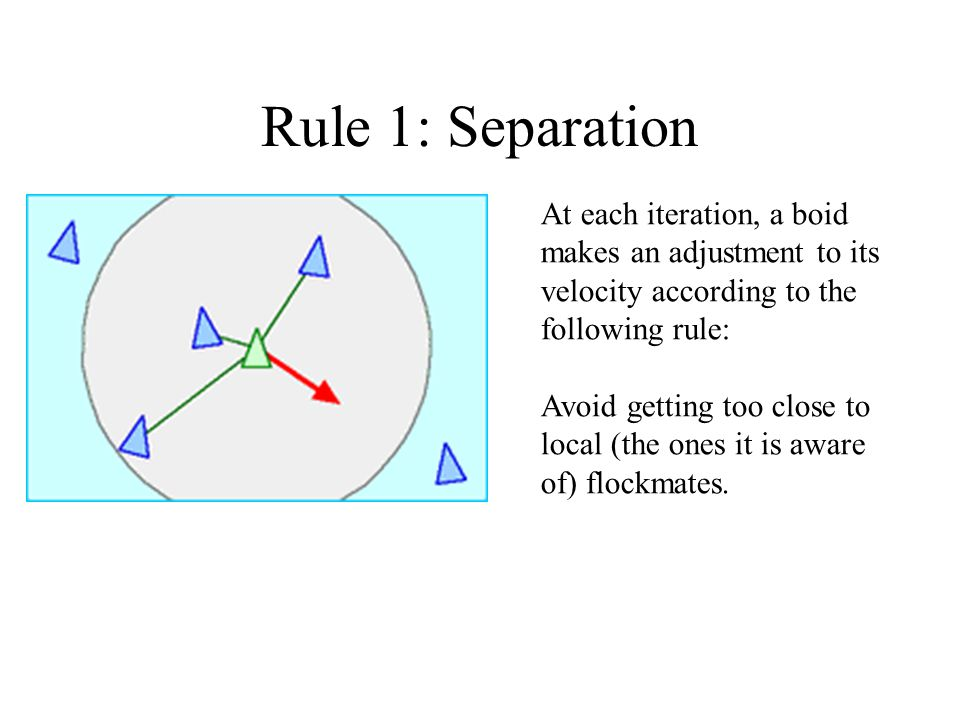 Rule 1: Separation At each iteration, a boid makes an adjustment to its velocity according to the following rule: Avoid getting too close to local (the ones it is aware of) flockmates.