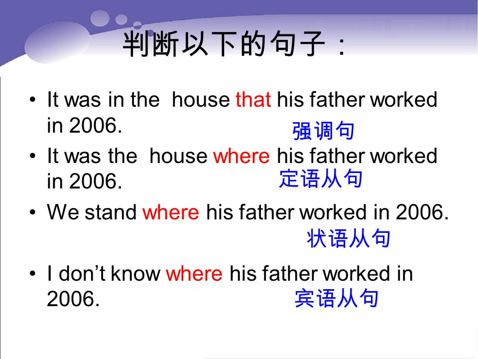 判断以下的句子: It was in the house that his father worked in 2006.